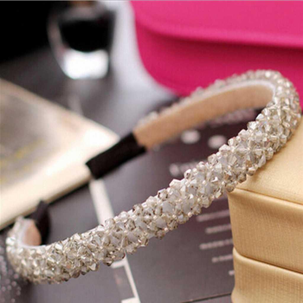 Delle donne Della Fascia high-end a quattro corone di cristallo di diamante in rilievo Fascia Dei Capelli Del Cerchio di Sport Hairbands Fatti A Mano Corona Testa Del Cerchio per le Ragazze O5