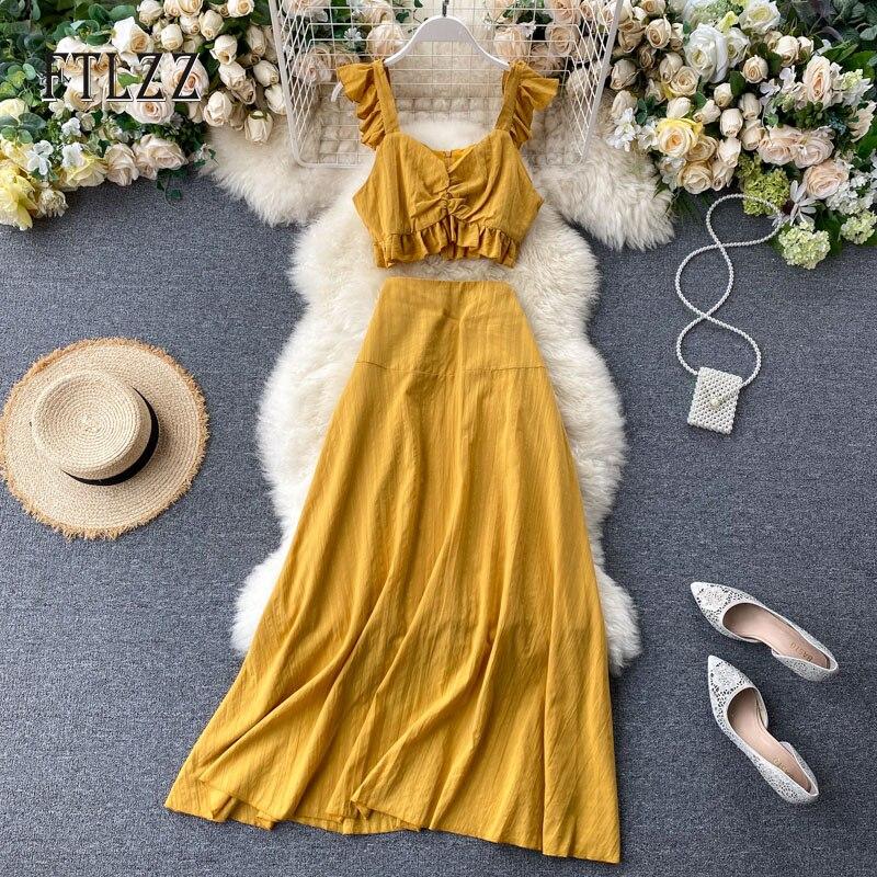 Summer 2020 Elegant Women Ruffle Layer Spaghetti Strap Short Top Basics Skirt Woman Casual 2 Piece Set Holiday Wind Beach Outfit