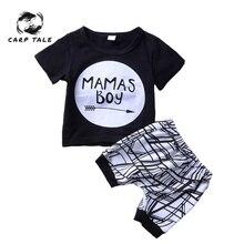 New Born Baby Clothes 2pcs Set Black Letter Print Tshirt for Boys White Stripe Pants Legging Baby Boys Clothes Newborn Set 0-24M