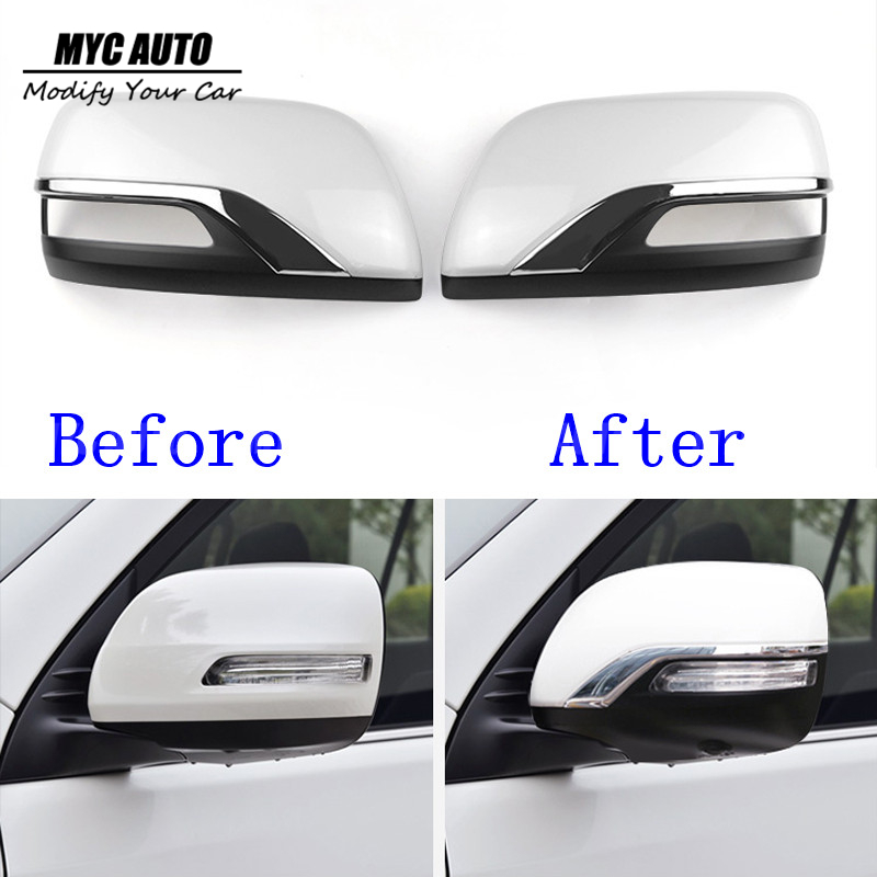 Rear Side View Mirror For Toyota <font><b>Land</b></font> <font><b>Cruiser</b></font> <font><b>LC200</b></font> 2016 <font><b>2017</b></font> 2018 ABS And Chrome Plated Mirror Cover image