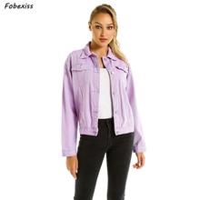 Jeans Jacket Women Autumn 2019 New Loose Pocket Button Denim Jacket Elegant Light Purple Jeans Jacket Fall Women Bomber Coat цена