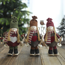 New Christmas decorations cute ski girl creative doll decoration window set