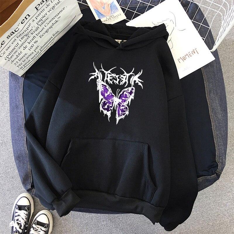 pink clothing black butterfly oversized Women's Hoodies Print Kawaii Sweatshirt Hoodies for Women top Hoody clothes Full Sleeve 8