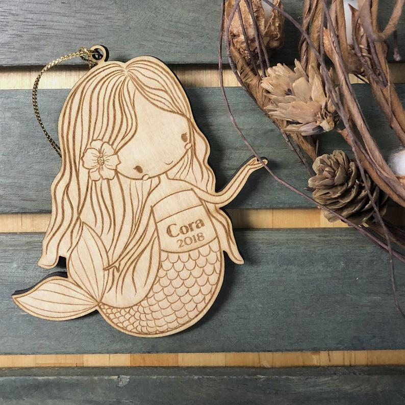 Personalized Baby Or Child Mermaid Girl Christmas Ornament ,Mermaid Wood Ornament ,Custom Ornament Personalized With Name And Ye