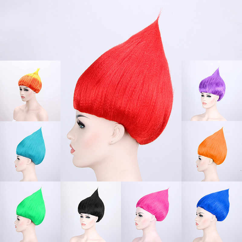Halloween Kleurrijke Volwassen Troll Stijl Festival Party Elf Pixie Pruik Stripfiguren Poppy Kostuum Cosplay Magic Fee Haar