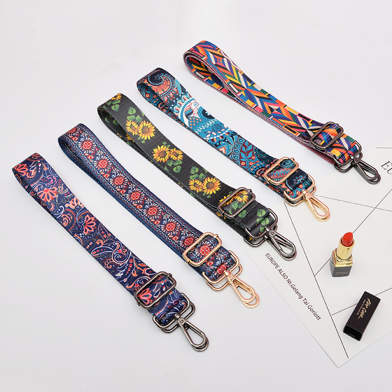Nylon Colored Belt Bag Strap Accessories For Women Rainbow Adjustable Shoulder Hanger Handbag Straps Decorative Chain Bag