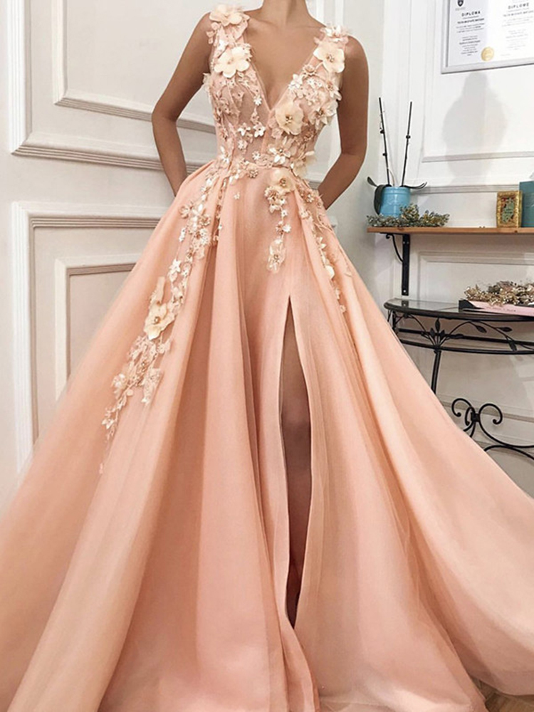 Formal-Dress Peach Evening-Dresses Serene Hill Deep-V Sexy Flowers Tulle LA60867 Diamonds
