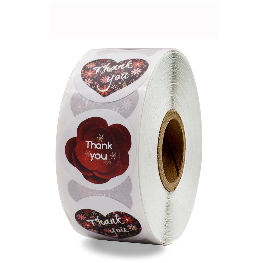 500 pcs/roll stationary stickers 2 design red rose love thank you sticker for Valentine's Day gifts, shop gift bag decoration