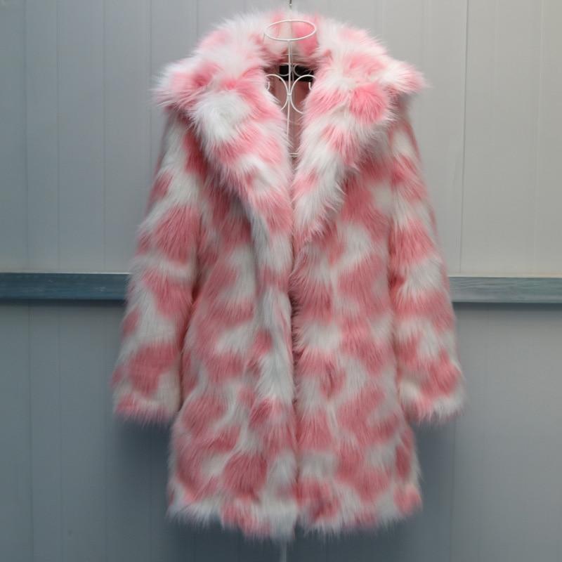 Arc-en-ciel fausse fourrure manteau ours en peluche manteau imprimé conceptions veste chaude Slim décontracté haute qualité élégant épais large taille arc-en-ciel Led