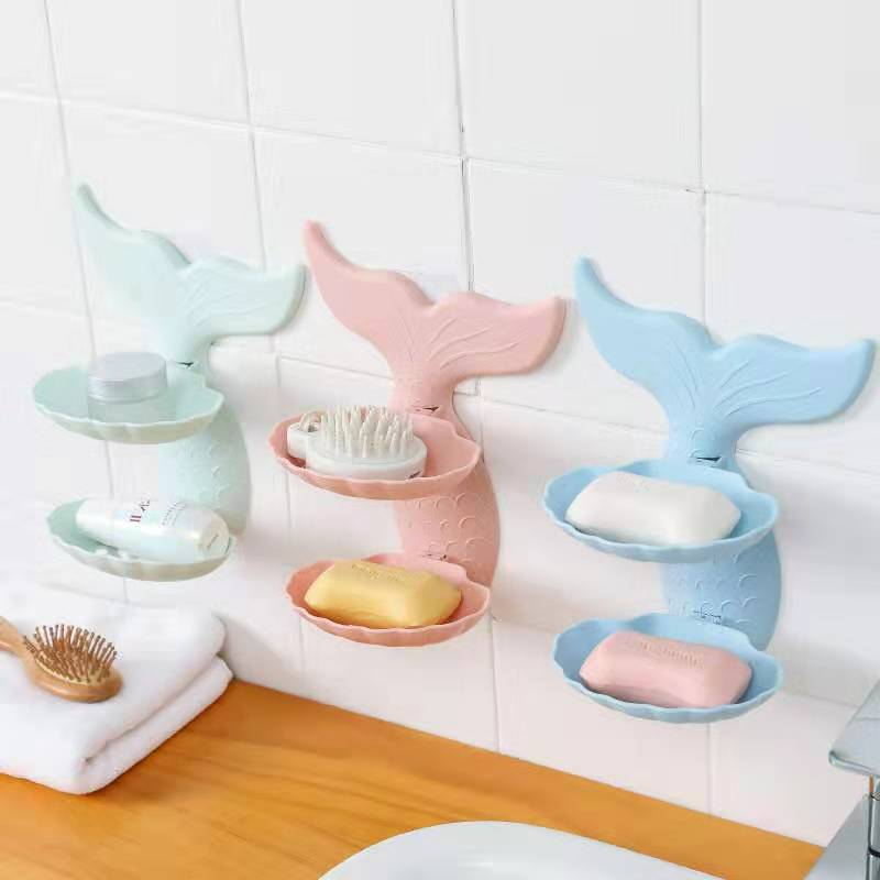 Mermaid Shape Double Layers Bathroom Shower Soap Holder Soap Box Bathroom Sucker Soap Draining Soap Dish Wall Shelf