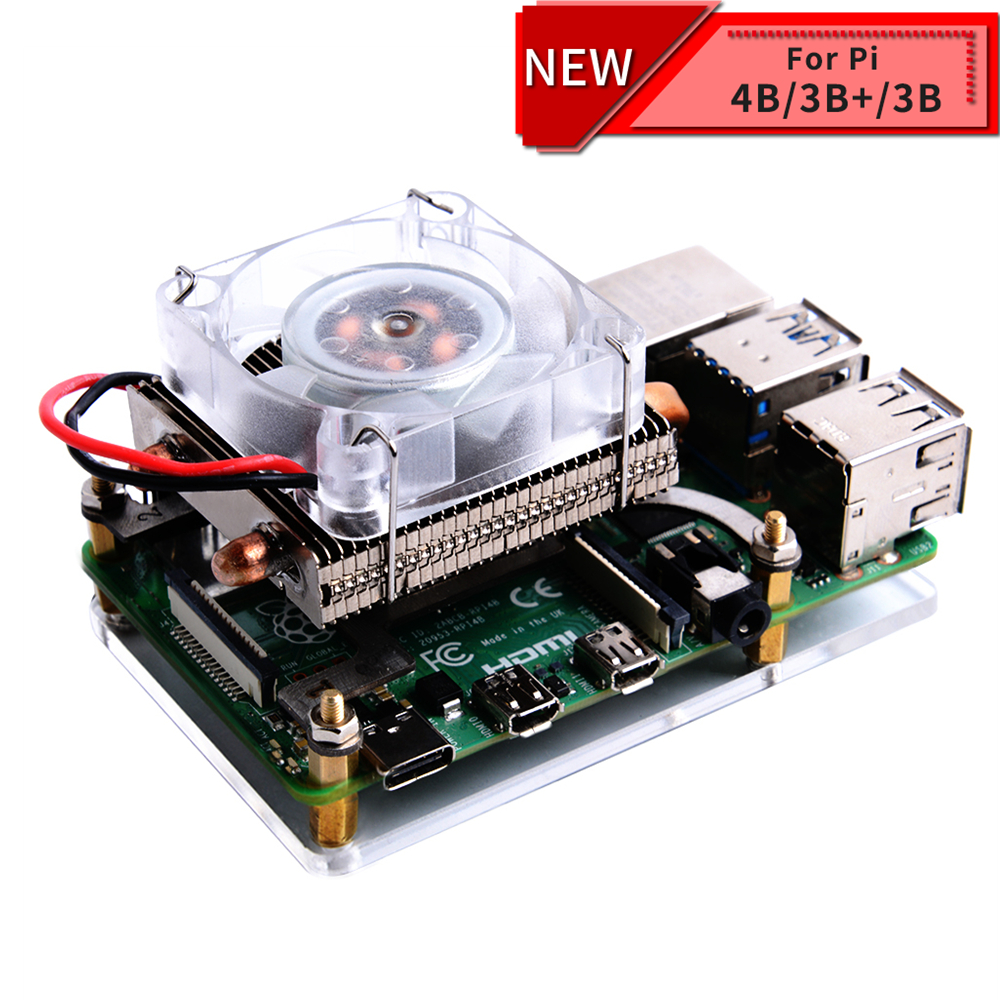 New! Low-Profile Ice Tower Cooling Fan Super 7 Colors RGB Changing Light With Bracket For Raspberry Pi 4B / 3B / 3B+