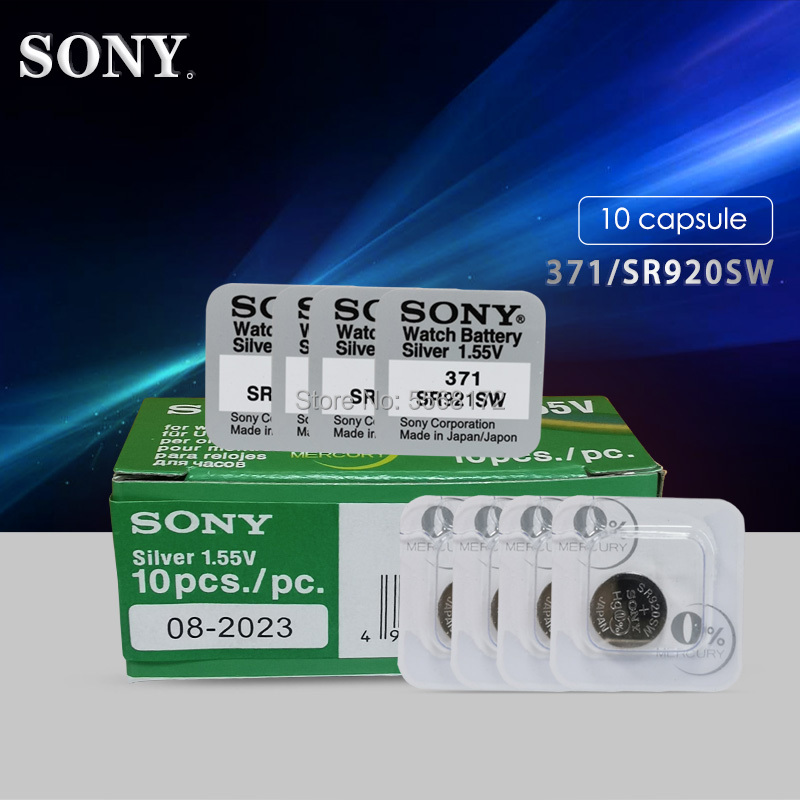 10pcs For Sony 1.55V 45mAh AG6 371 SR920SW LR920 171 370 L921 LR69 SR920 For Watch Button Batteries Single Grain Packing