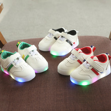 Hook-Loop LED Lighted Children Girls Boys Casual Shoes Tennis Kids Sneakers Comfortable Sports Fashionshoe Stylish Striped Shin converse kids shoes hoop loop high cut comfortable casual sneakers 654191c ys