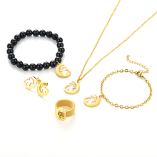 bear gold jewlery set earrings ring necklace bracelet anklet Stainless Steel Moon Bear Party Accessories Gift 5pc for 1 set circle moon necklace bracelet earrings with ring set