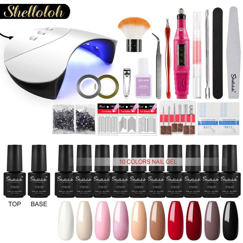 Shelloloh Alle Voor Manicure Set Gel Nagellak Voor Nail Art Accessoires Uv Led Lamp Droger Boor Manicure Machine Nail set Kit