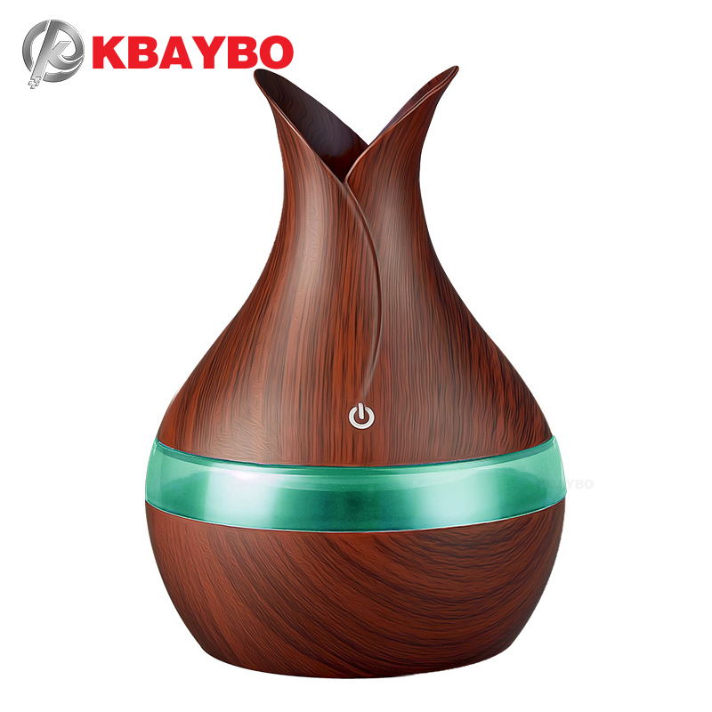 KBAYBO 300ml USB Air Humidifier Aroma Oil Diffuser Strong Mist Maker Wood Grain With 7 Colors LED Night Light For Home Office