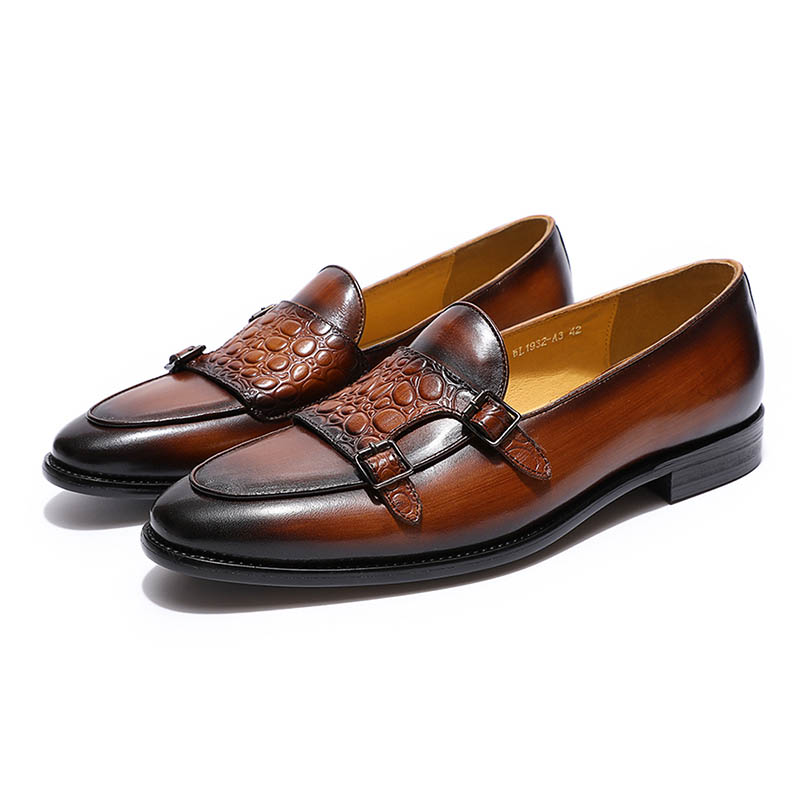 Image 2 - FELIX CHU Luxurious Mens Double Monk Strap Loafers Genuine  Leather Brown Green Mens Casual Dress Shoes Slip On Wedding Men  ShoeMens Casual Shoes