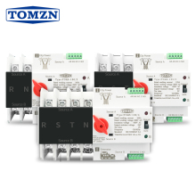 Din Rail 2P 3P 4P ATS Dual Power Automatic Transfer Switch Electrical Selector Switches Uninterrupted Power 63A 100A TOMZN Mini
