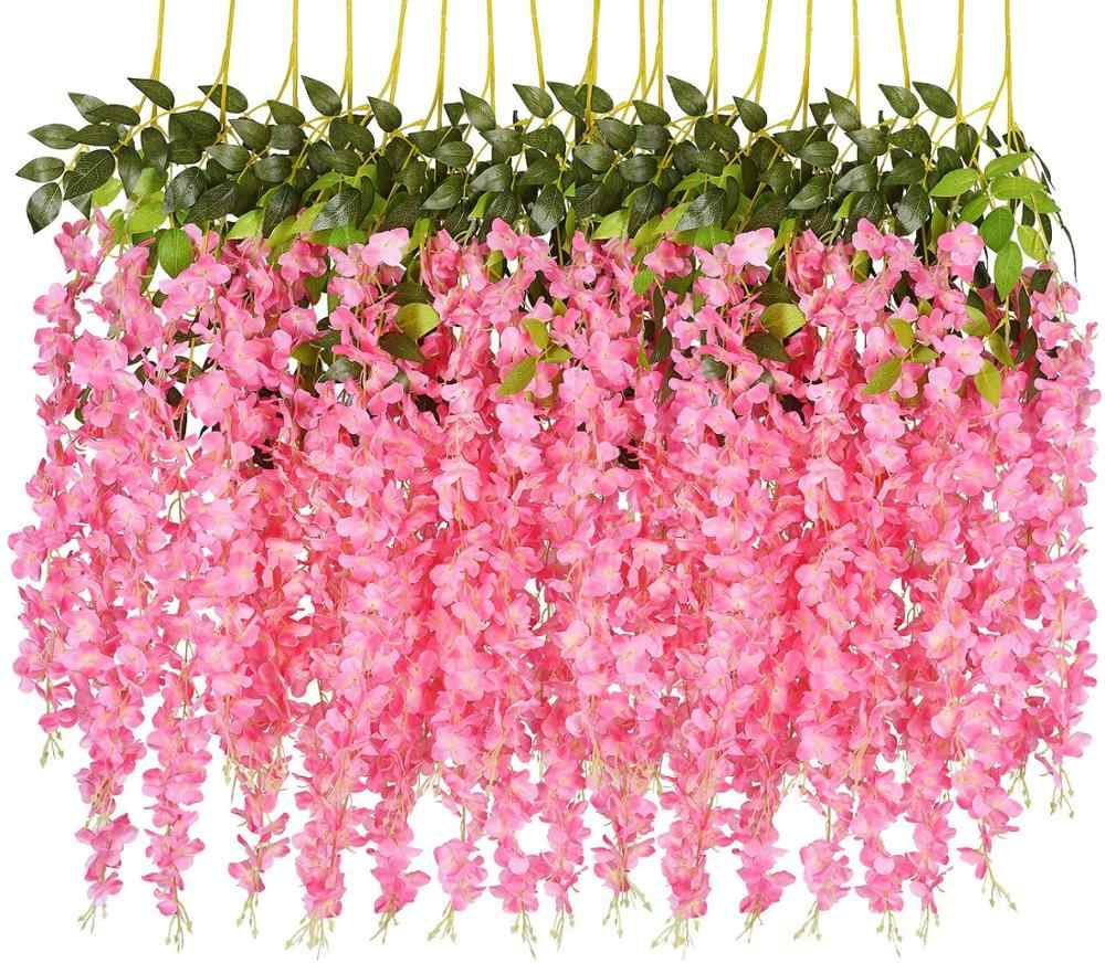 12PCS/SET 3.6 Feet Artificial Flowers Silk Wisteria Vine Hanging Flower for Wedding Garden Floral DIY Living Room Office Decor