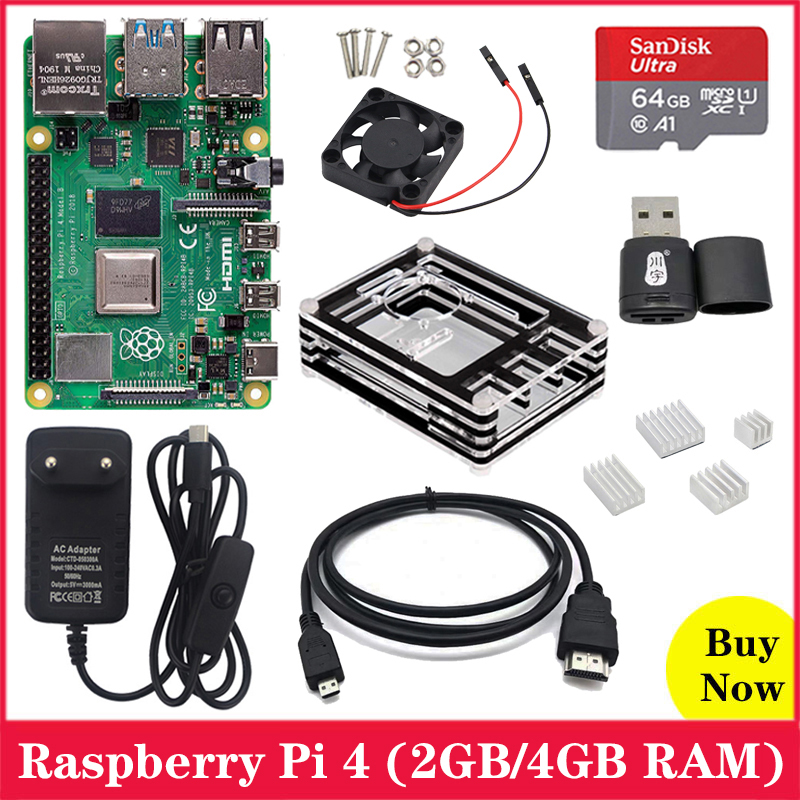 Original Raspberry Pi 4 Model B 2.4G&5G WiFi Bluetooth 5.0 2GB / 4GB RAM + Rapberry Pi 4B Case Power Supply Aluminum Heat Sink