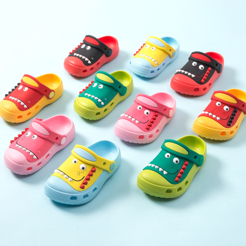Mini Melissa 2020 Dinosaur Sandals Children's Breathable Cute Bottom Beach Slippers Cartoon Baby Summer Slippers Boys Girls