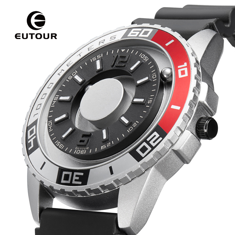 EUTOUR New innovative magnetic metal multi-function mens watch fashion sports quartz simple strap pilot