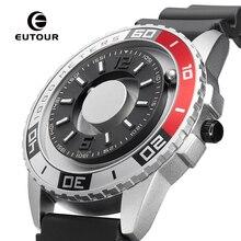 Eutour novo inovador metal magnético multi função relógio masculino moda esportes relógio de quartzo simples cinta piloto