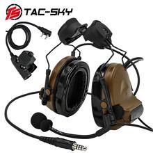 Fone de ouvido tático tac sky comtac ii, headset militar com cancelamento de ruído e tático ptt u94ptt cb