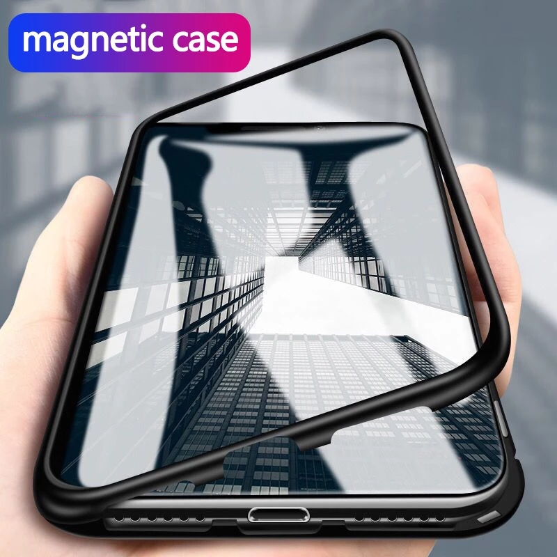 Магнитный металлический чехол для iPhone 12 11 Pro Max X XR XS Max, Магнитный чехол из закаленного стекла для iPhone 7 8 6 6s Plus SE 2020