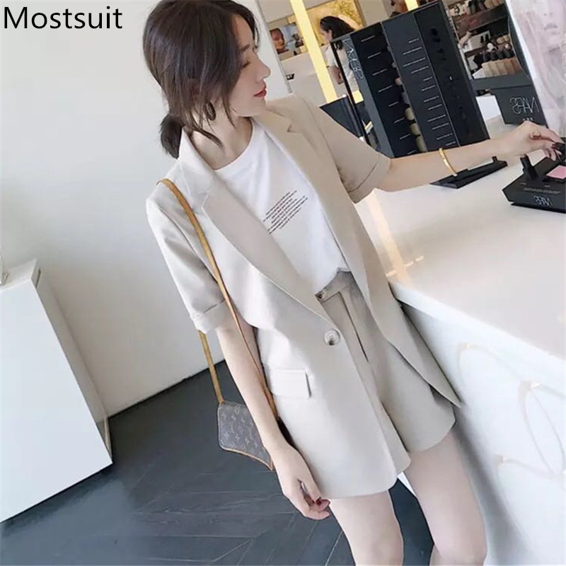 Plus Size 2020 Summer Office Fashion Two Piece Sets Outfits Women Short Sleeve Tops + Shorts Suits Korean Elegant Ladies Sets