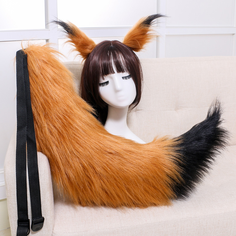 Plush Halloween Cosplay Wolf Fox Party Ears Tail long fur Costume Prop Custom