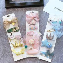 Flower Kids Girls Hair Clips Bows Cute Bunny Ornament Barrette 5pcs/set Big Kawaii Accessories For Children