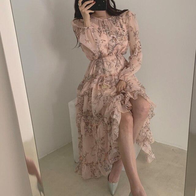 WAVSIYIER print floral vintage party a-line long sleeve woman korean style autumn winter elegant dresses 2020 loose dress women 5