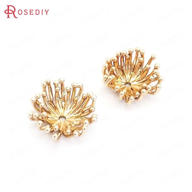 (39545)10 pces diâmetro 15mm altura 6mm 24k champagne ouro latão flor bonés contas bonés jóias que fazem suprimentos diy acessórios