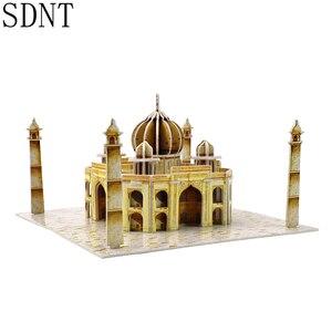 Taj Mahal, rompecabezas 3D de cartón para construcción, juguetes para niños, juego de Hobby DIY, juegos de modelos de atracciones de fama mundial, juguetes educativos para niños