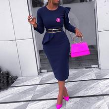 Женское винтажное синее офисное платье с рюшами коктейльные