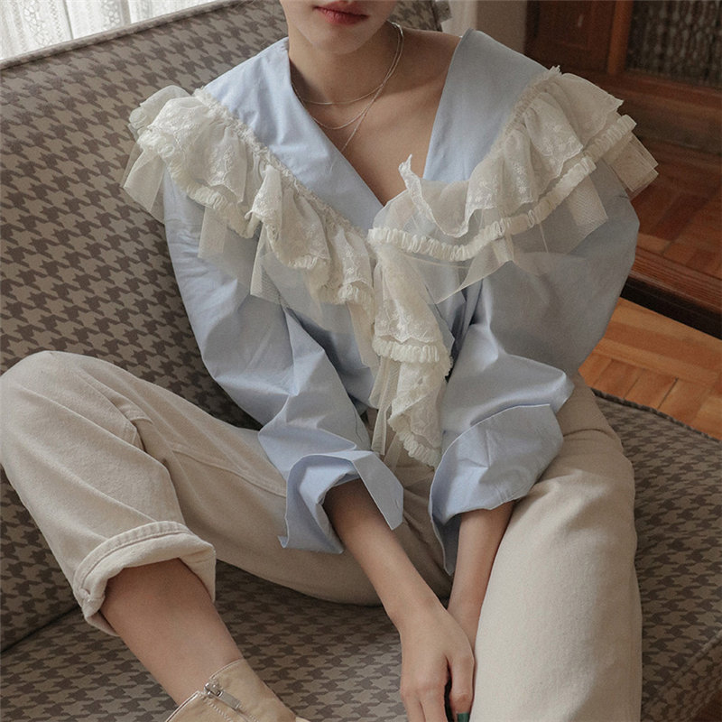 Alien Kitty Palace Style 2020 Patchwork Ruffles Lace Fresh Stylish Women All-Match Hot Elegant Gentle Sweet Chic Brief Shirts