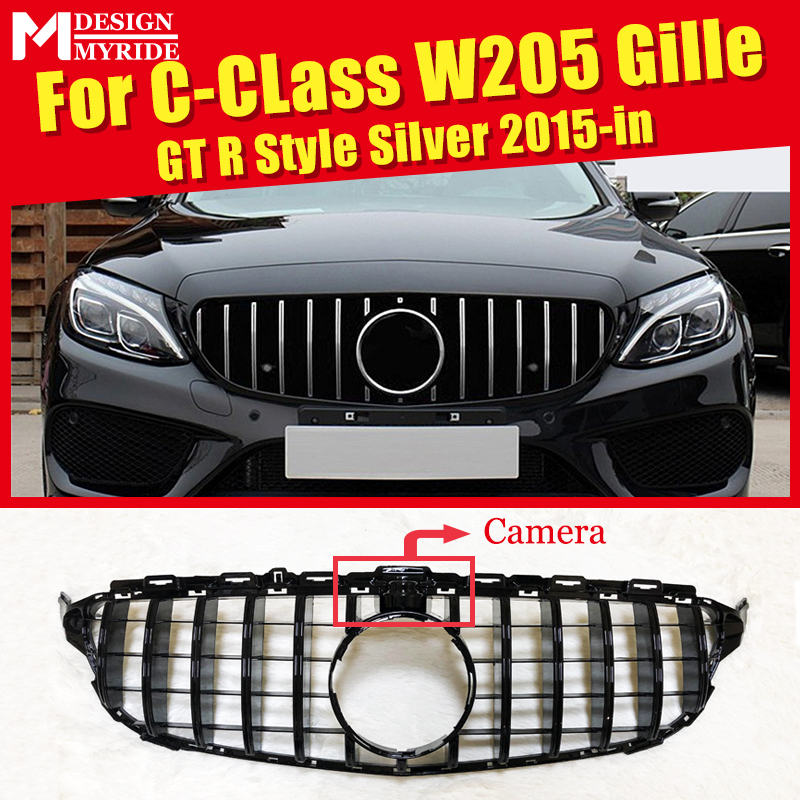 W205 Sports Grille Mesh GTS Style ABS Material Black Grill Fits For W205 C180 C200 C230 C250 C280 C300 Grills with Camera 2015+ image