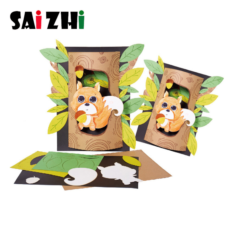 Saizhi Children DIY Squirrel Painting Early Learning Gifts Creative Hand Material Bags Craft Supplies Parent Activity Toys Gift