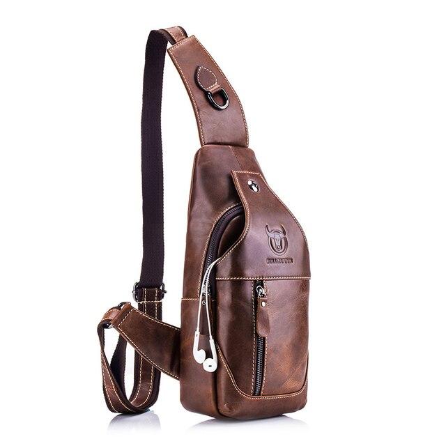 بولكابشن حقيبة ساع جلدية للرجال حقيبة عادية للرجال حقيبة صدر للرجال العلامة التجارية مصمم متعددة الوظائف سماعة جاك الصدر حزمة