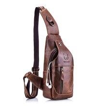 BULLCAPTAIN  leather messenger bags mens casual bag for men chest bag brand designer Multi function headphone jack chest pack