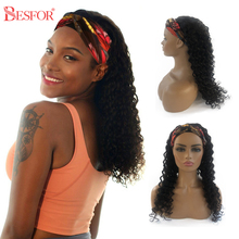 Scarf Wig Human-Hair BESFOR Brazilian Deep-Wave-Machine-Made Non-Lace Remy Front Straight