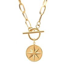 100% paslanmaz çelik altı köşeli yıldız sikke geçiş kolye kadınlar için altın/gümüş renk Metal sikke madalyon gerdanlık collier