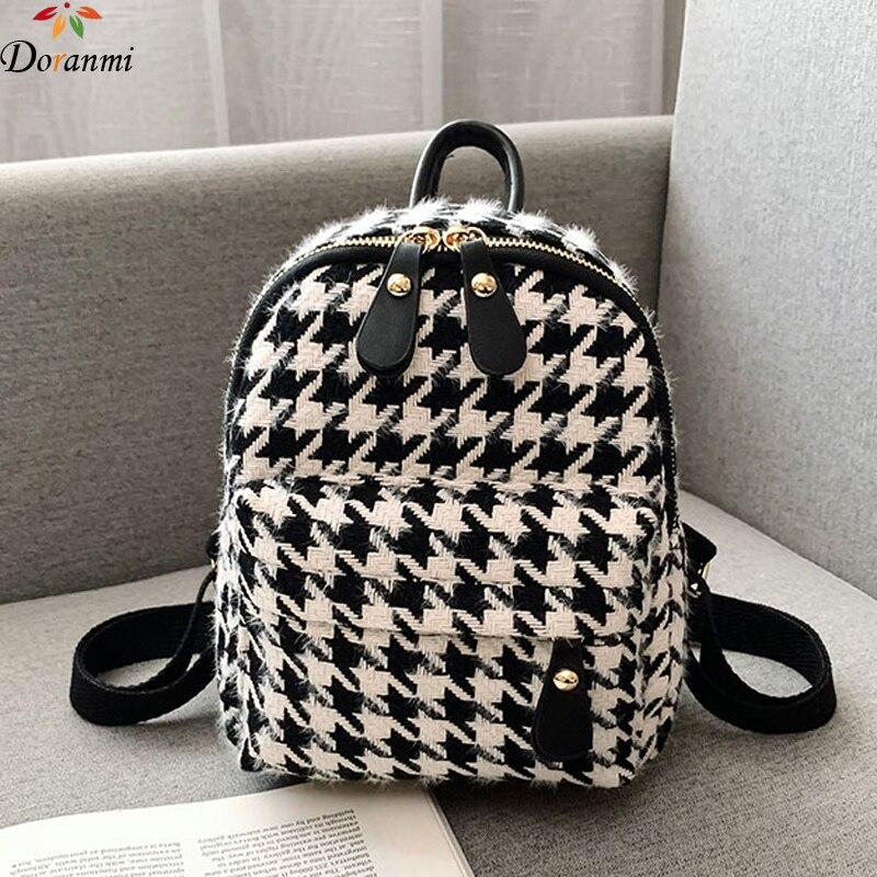 DORANMI Plaid Small Autumn Backpack Women's Schoolbags 2019 Winter Shoulder Back Bag Female Back Book Bags Mini Mochila BG318