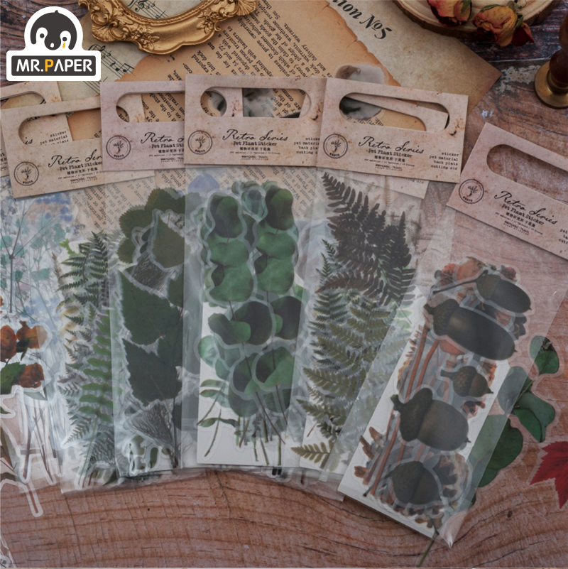 Mr.paper 8 Designs 20Pcs/lot Botany Plant Deco Stickers Scrapbooking Bullet Journal Toy Retro Deco Album DIY Stationery Stickers