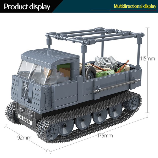 551PCS German Army RSO Armored Truck Military Bricks For WW2 Vehicles Figures Soldiers Building Blocks Toys For Children