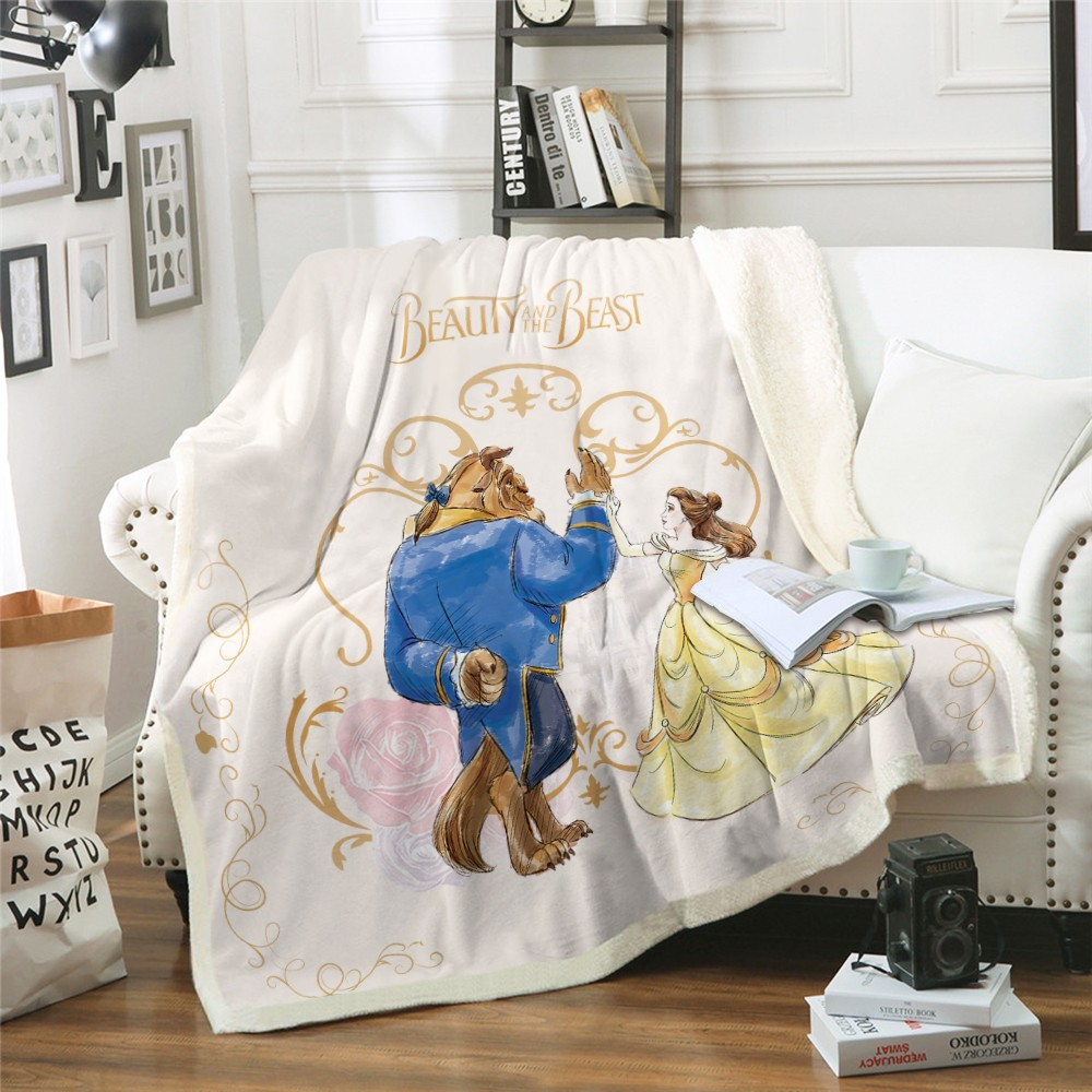 Disney Cartoon Blanket Beauty And Beast Blanket Throw For Bed Sofa Bedspread Bedding Sherpa Blankets Boys Girls Kids Gift