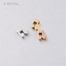 X-ROYAL 10Pcs/lot 8mm Cute musical Note Shape Stainless Steel Loose Beads Fashion 1.8mm Hole DIY Spacer Jewelry Charms