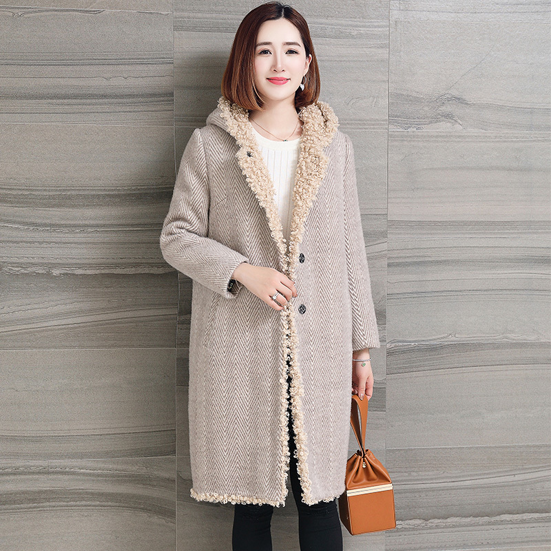 Wool Shearing Sheep Coat Hooded Real Fur Coat Long Winter Fur Jacket Women Natural Lamb Fur Liner Plus Size 6XL OT1876