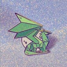 Grün Spyro Kristall Drachen Glitter Brosche Pins Emaille Metall Abzeichen Revers Pin Broschen Jacken Jeans Mode Schmuck Zubehör